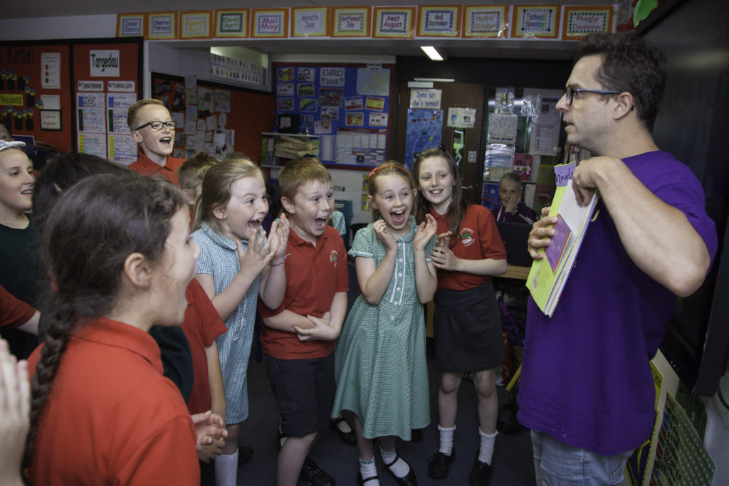 Denbighshire Schools put on a major Roald Dahl Promenade event ,  Photographed at Ysgol Y Gwernant, Llangollen is Actor Sean Jones during a story telling workshop.