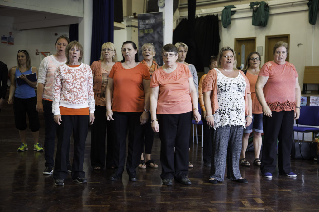 Scottish Power sponsors of the Llangollen Eisteddfod Inclusion Project who will be performing at the Llangollen Eisteddfod . Pictured during rehearsals are members of the Kim Choir.