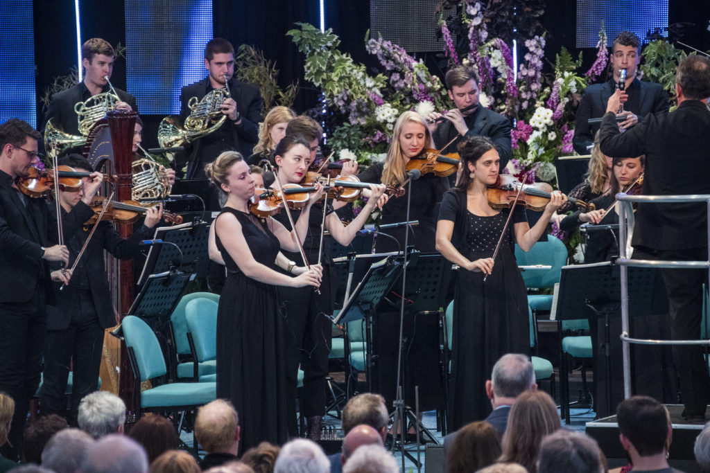 Llangollen International Musical Eisteddfod 2016. Thursday evening concert. Bryn Terfel celebrates the 70th Llangollen International Musical Festival with good friend Maltese Joseph Calleja and joined on stage by the Eisteddfod's 2014 Voice of the Future competition winner, mezzo soprano Eirlys Myfanwy Davies alongside the Sinfonia Cymru Orchestra conducted by Gareth Jones.