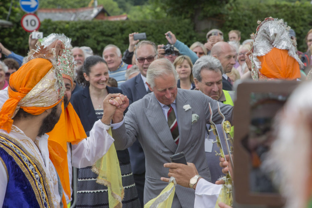 Prince Charles visit to Llangollen International Musical Eisteddfod dances with Sheerer Punjabi Dancers